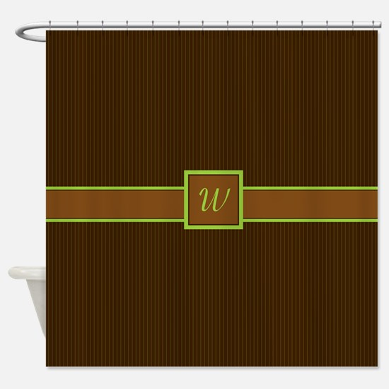 Chocolate and Lime Pinstripes Shower Curtain