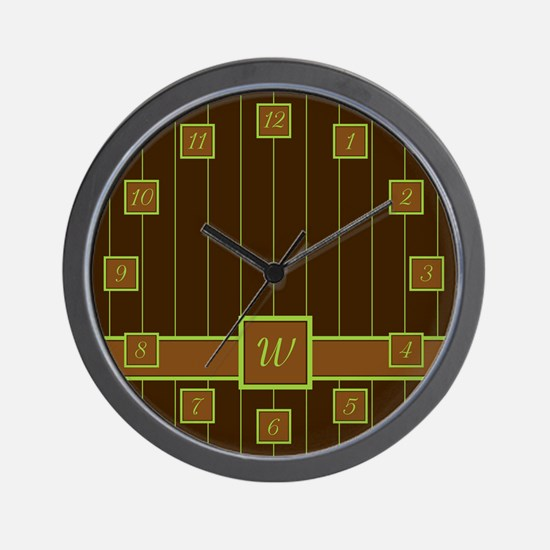 Chocolate and Lime Pinstripes Wall Clock
