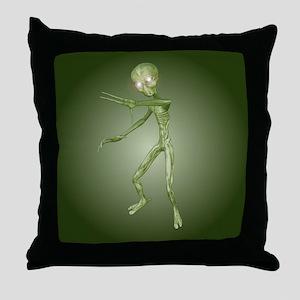 Green Alien Monster Throw Pillow
