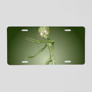 Green Alien Monster Aluminum License Plate