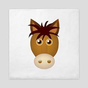 Horse face cartoon Queen Duvet