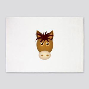 Horse face cartoon 5'x7'Area Rug