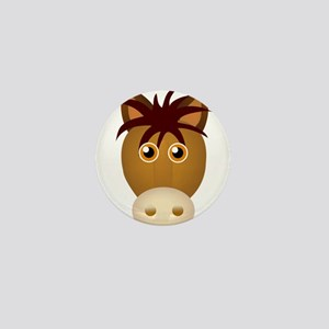 Horse face cartoon Mini Button