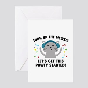 Turn up The Mewsic Greeting Card