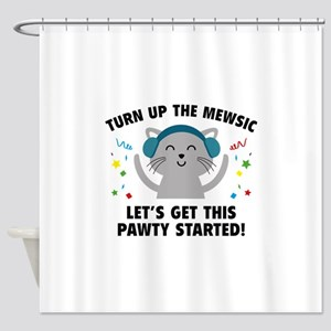 Turn up The Mewsic Shower Curtain