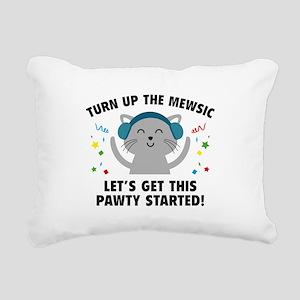 Turn up The Mewsic Rectangular Canvas Pillow