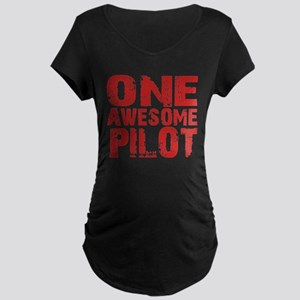 One Awesome Pilot Black Maternity T-Shirt