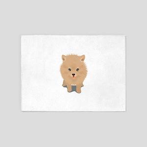 Pomeranian dog 5'x7'Area Rug