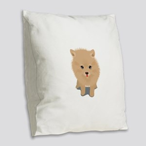Pomeranian dog Burlap Throw Pillow