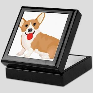 Pembroke welsh corgi dog showing tong Keepsake Box