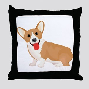 Pembroke welsh corgi dog showing tong Throw Pillow