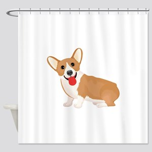 Pembroke welsh corgi dog showing to Shower Curtain