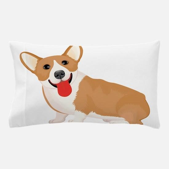 Pembroke welsh corgi dog showing tongu Pillow Case