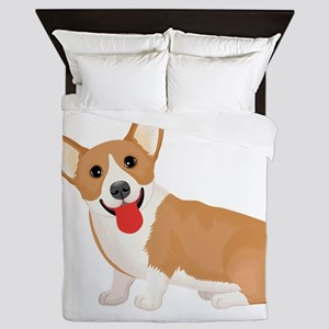 Pembroke welsh corgi dog showing tongu Queen Duvet