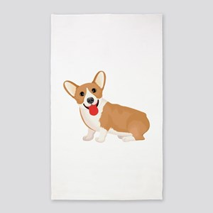 Pembroke welsh corgi dog showing tongue Area Rug