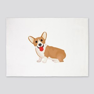 Pembroke welsh corgi dog showing to 5'x7'Area Rug