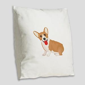 Pembroke welsh corgi dog showi Burlap Throw Pillow