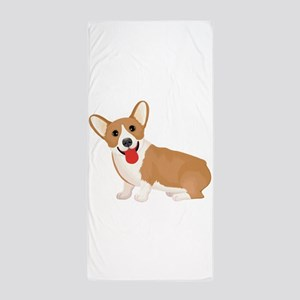 Pembroke welsh corgi dog showing tongu Beach Towel
