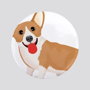 Pembroke welsh corgi dog showing tongue Button