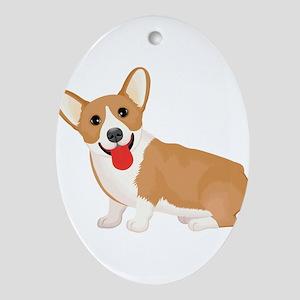 Pembroke welsh corgi dog showing ton Oval Ornament