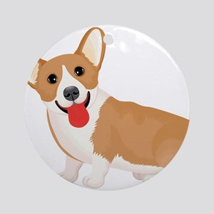 Pembroke welsh corgi dog showing to Round Ornament