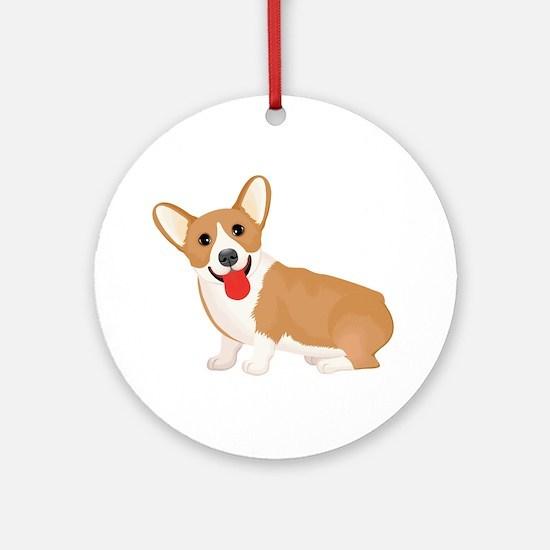 Pembroke welsh corgi dog showing to Round Ornament