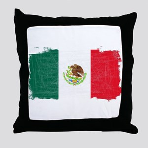 Mexican Flag Grunge Throw Pillow