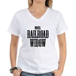 Model Railroad Widow Women' Women's V-Neck T-Shirt