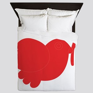 Simple red bird art Queen Duvet