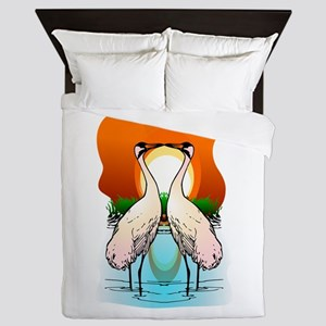 Valessiobrito two love whooping crane Queen Duvet