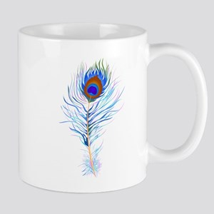 Peacock feather watercolor Mugs