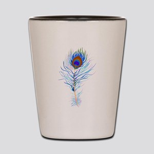 Peacock feather watercolor Shot Glass
