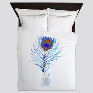 Peacock feather watercolor Queen Duvet