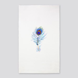 Peacock feather watercolor Area Rug