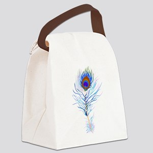 Peacock feather watercolor Canvas Lunch Bag