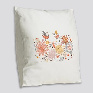 Combination of exquisite bird Burlap Throw Pillow