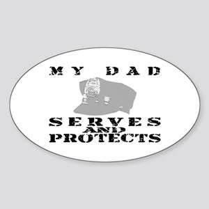 Serves & Protects Hat - Dad Oval Sticker