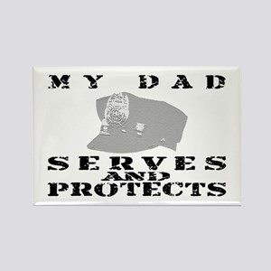 Serves & Protects Hat - Dad Rectangle Magnet