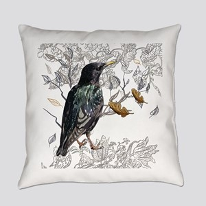 Leaves birds background set Everyday Pillow