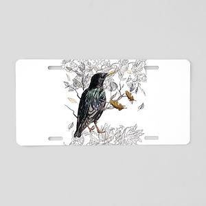 Leaves birds background set Aluminum License Plate