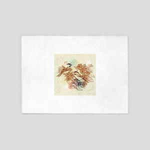 European retro bird flower painting 5'x7'Area Rug