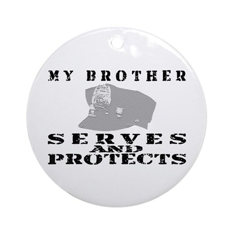 Serves & Protects Hat - Bro Ornament (Round)
