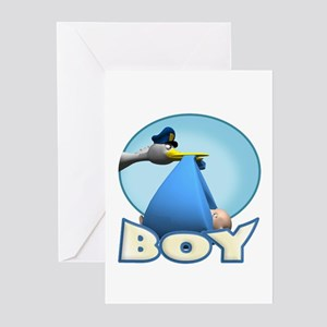 Baby Boy Stork Delivery Greeting Cards (Pk of 10)