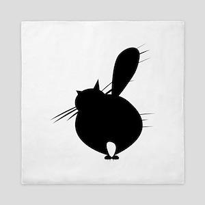 Black cat posing backside Queen Duvet