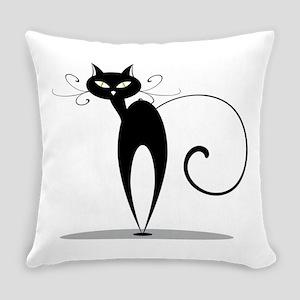 Funny black cat design Everyday Pillow