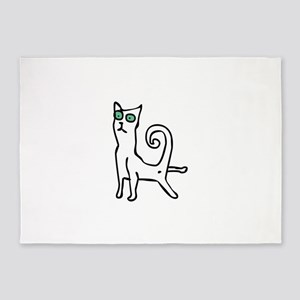 Stretching cat 5'x7'Area Rug