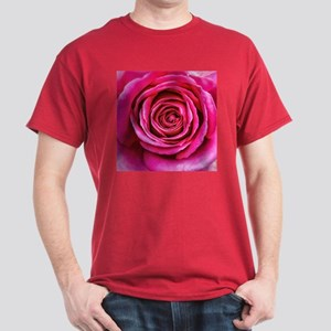 Hot Pink Rose Closeup Dark T-Shirt
