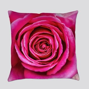 Hot Pink Rose Closeup Everyday Pillow