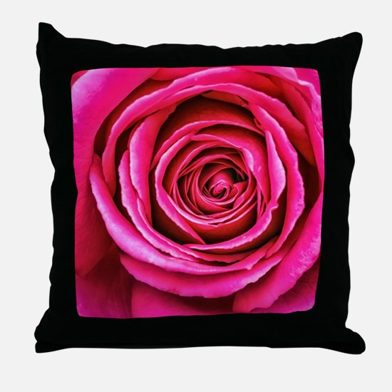 Hot Pink Rose Closeup Throw Pillow