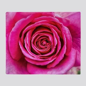 Hot Pink Rose Closeup Throw Blanket